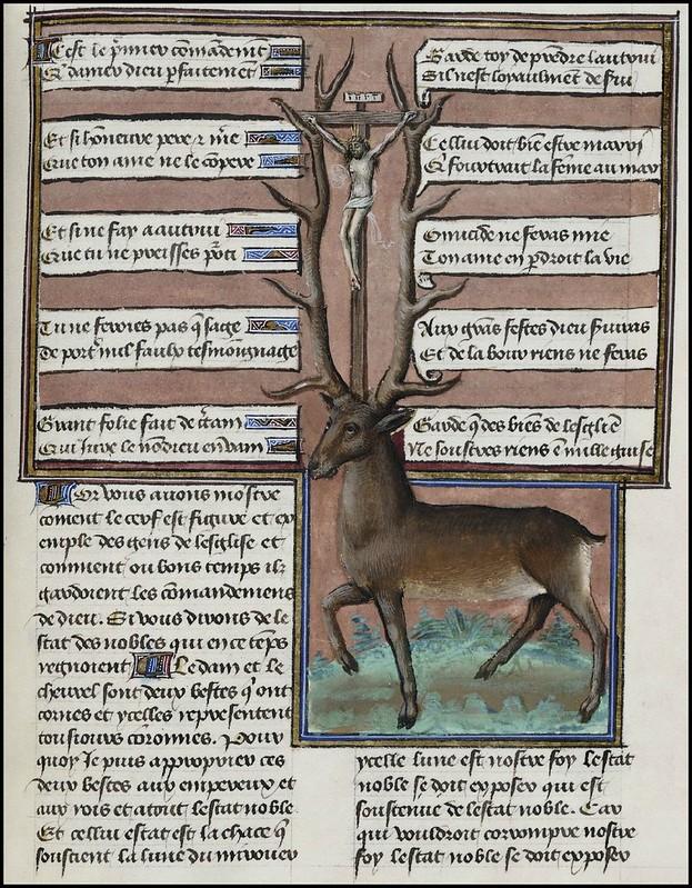 15th century illuminated manuscript miniature: Henri de Ferrières, Les Livres du roy Modus et de la royne Ratio 106