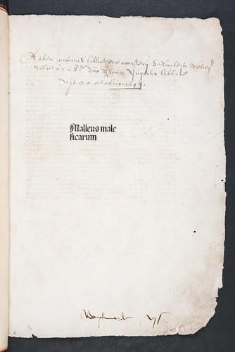 Monastic ownership inscription in Institoris, Henricus and Jacobus Sprenger: Malleus maleficarum