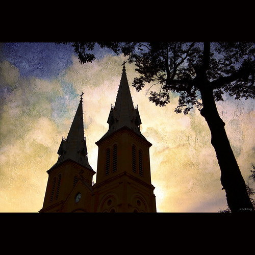 lighting trees light sky texture church silhouette architecture clouds landscape cloudy faith religion vietnam notredamesaigon vietnameselandscape