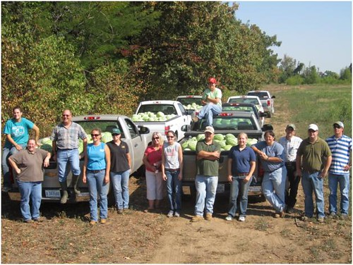 USDA employees and friends at the watermelon field just after picking watermelons. The watermelons were donated to food banks in Sikeston and Cape Girardeau, Missouri.