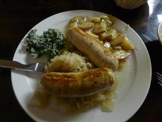 Weisswust, Sauerkraut, and Potato Salad