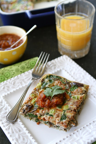 Baked Egg Breakfast Casserole with Mushrooms, Spinach & Salsa...Awesome flavors for breakfast or dinner!  110 calories & 3 Weight Watcher PP per serving. | cookincanuck.com #vegetarian #MeatlessMonday #cleaneating