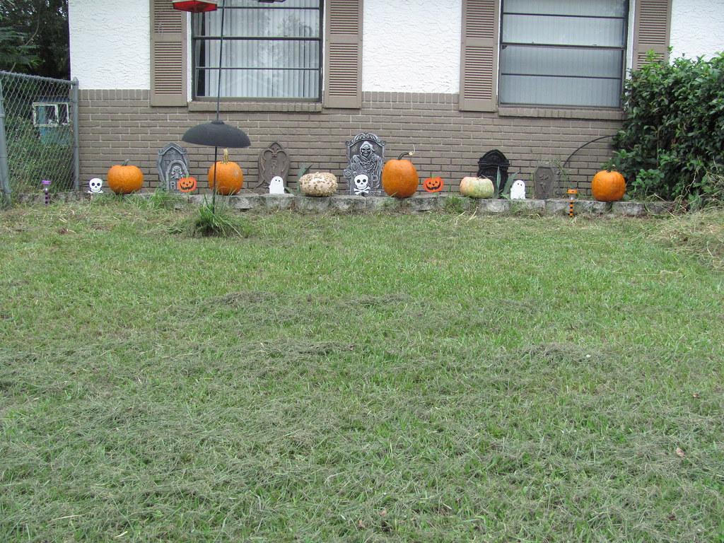 Outdoor Halloween decorations done