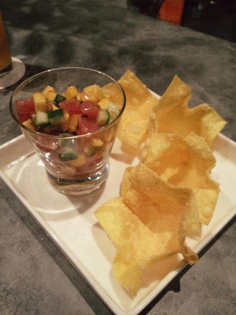 Ahi Mango Poke + Wanton Chips, Kilo at PACT, Singapore