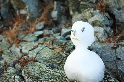 奥穂高の雪だるま