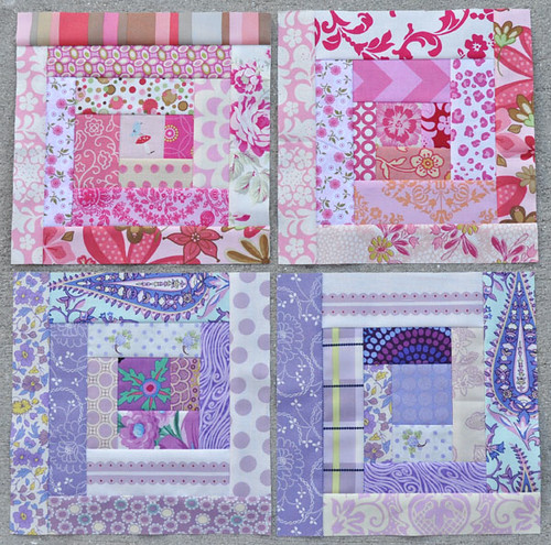 Scrappy Log Cabin Blocks 15,16,17,18