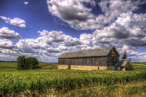 old blue sunset sky usa detail building green field wisconsin clouds barn rural photography corn quilt image pentax farm country photograph crop hdr 2012 k5 photomatix greencounty tonemapped kohlbauer hardpancom marckohlbauer