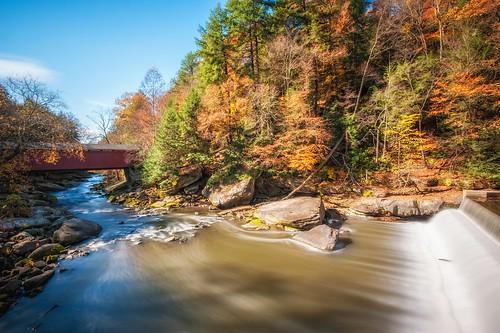longexposure autumn fall damn coveredbridge mcconnellsmill mcconnellsmillstatepark 10stopfilter bwneutraldensityfilter davedicello hdrexposed