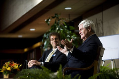 The Honorable Newt Gingrich discusses 'Leadership Challenges Beyond the Election' at on Oct. 25 event hosted by the LBJ School of Public Affairs and the LBJ Presidential Library. Pictured here with Jeremi Suri, Mack Brown Distinguished Chair for Leadership in Global Affairs.