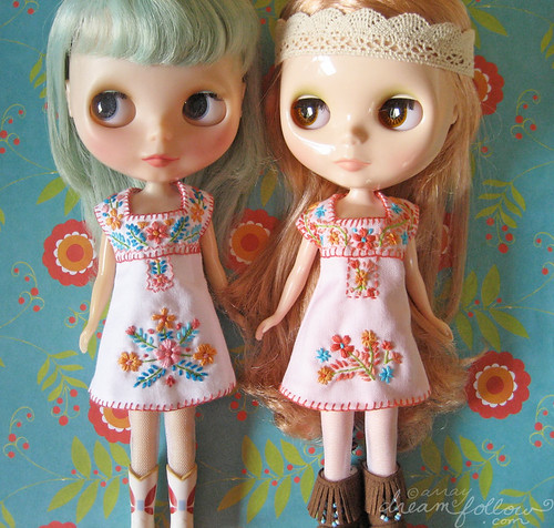 Mexican inspired hand embroidered Blythe dresses