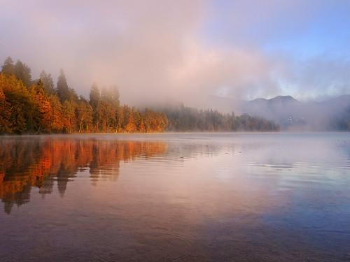 morning autumn lake alps fall sunshine fog sunrise early colours foggy upper slovenia alpine bled gorenjska jezero blejsko carniola