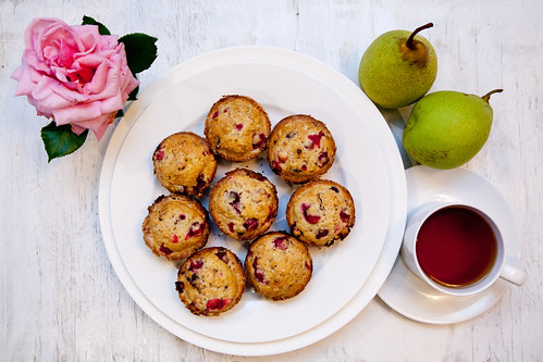 Homemade cranberry chocolate muffins