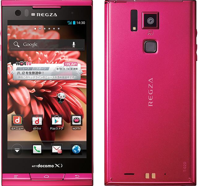 REGZA Phone T-02D 実物大の製品画像