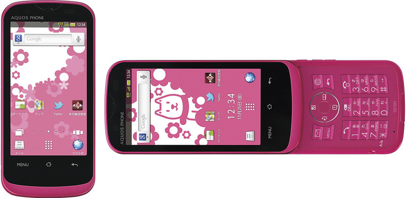 AQUOS PHONE THE HYBRID 101SH 実物大の製品画像