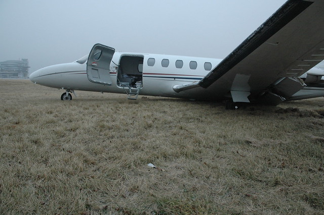 A Cessna 560 (Citation V) on a runway in Edmonton, Alberta after being involved in a landing accident