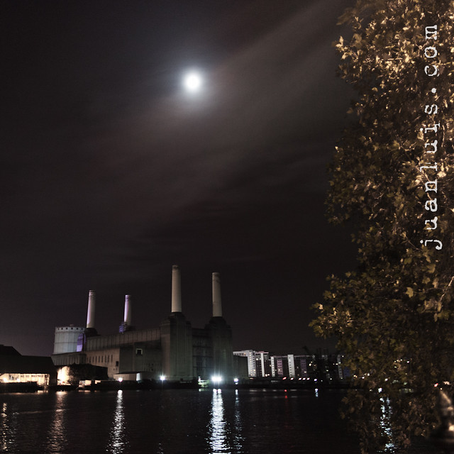 Battersea Power Station beneath the full moon