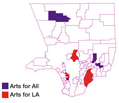 Photo: map of Arts for All and Arts for LA's current districts