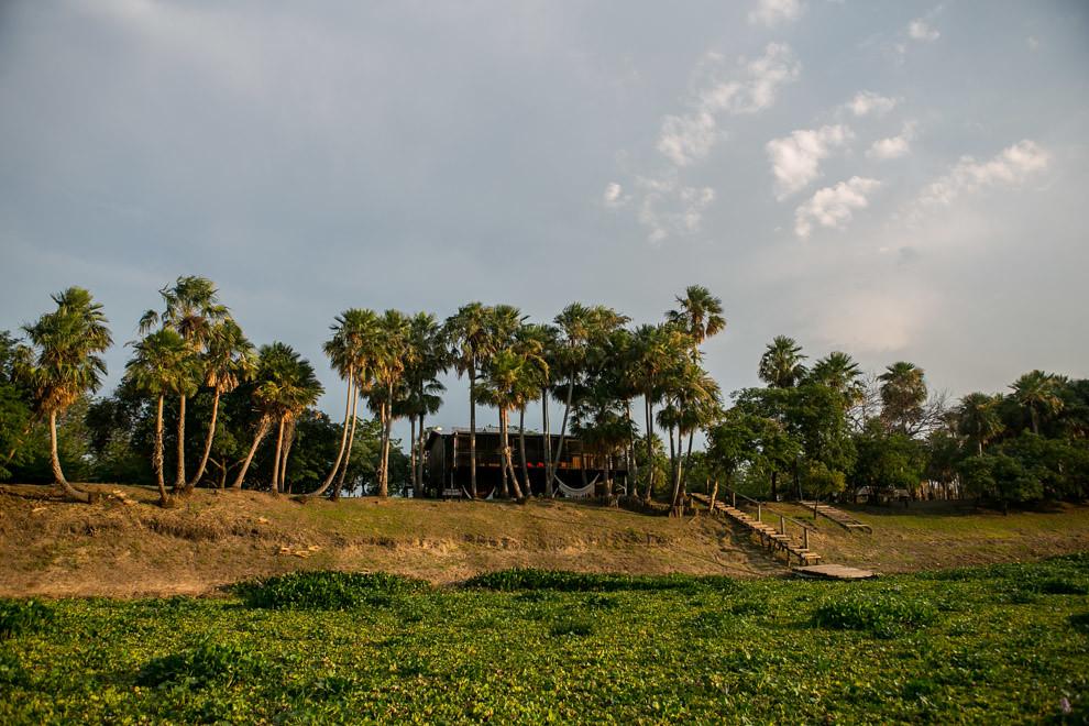 Después de 40 minutos de travesía por el Río Paraguay y el Río Negro llegamos a la Estación Biológica Los Tres Gigantes de la Asociación Guyra Paraguay, que permite a los visitantes una estadía cómoda para disfrutar de la fauna y flora que ofrece este increíble destino. La Estación fue inaugurada en 2008 y cuenta con lugares para hasta 12 personas. Cuenta con paneles solares para la generación de energía eléctrica, hay senderos que recorren los palmares para observar aves. Los visitantes pueden aprovechar el uso de las canoas, caballos, y equipamiento de pesca que están disponibles en la Estación, así como acampar si lo desean.(Tetsu Espósito)
