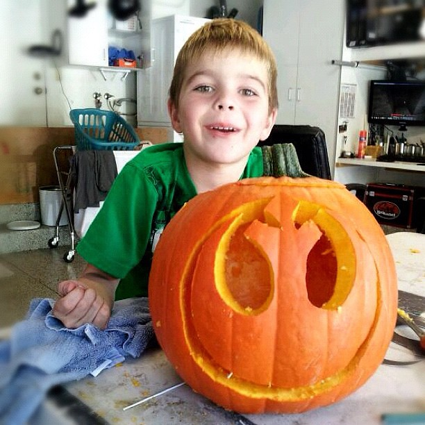 "Pumpkin carving earlier today. Star Wars themed ""Rebel Alliance"" symbol. #starwars #rebelalliance #halloween"