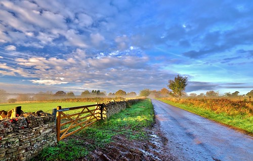greatbritain autumn trees light england sky sun southwest tree green english field clouds rural sunrise landscape dawn october track britain farm country farming tracks sigma bluesky cotswolds gloucestershire lane agriculture stroud hdr oakridge d90 englishness