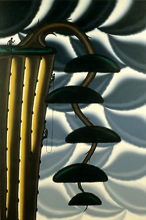 Roger Brown, Bonsai #2, Climing with the Cascae (Kengai), 1997, Oil on canvas