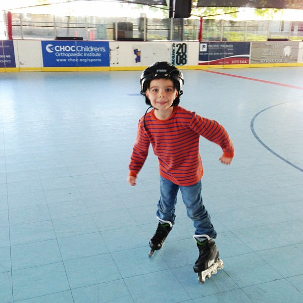 First rule of playing hockey. Learning to skate.