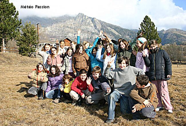 écoliers en classe de neige près d'Orcières (Hautes-Alpes) dans la douceur des 18, 19 et 20 janvier 2007 météopassion