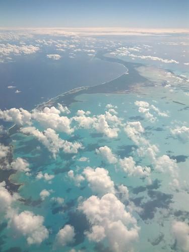 L'archipel des Keyes, au sud de la Floride, vu d'avion.
