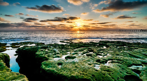 ocean california ca blue sunset sun green beach clouds gold rocks pacific sandiego over socal ob skynoir