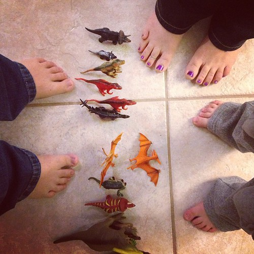 We had a #guest today. Aunt Amy came over to play & eat dinner. Z, Amy, and I checked out Z's dinos lined up on the floor. :) #projectlife365