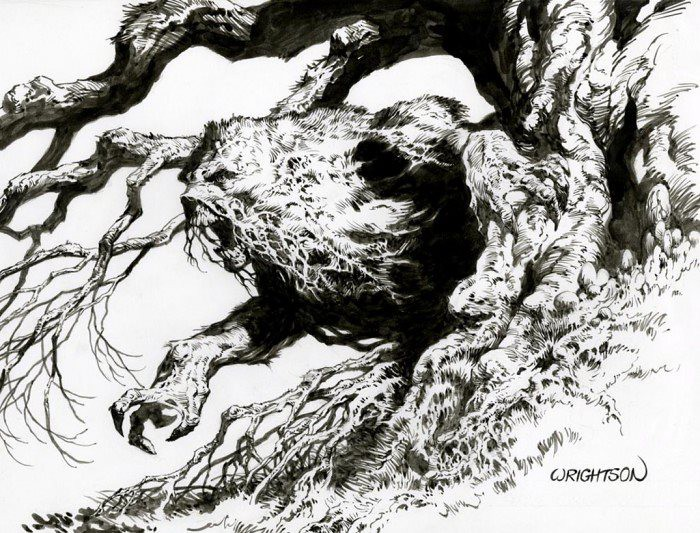 Swamp Thing roaring by Wrightson