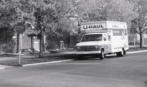 A U Haul Ford rental box truck.  Chicago Illinois.  May 1989. by Eddie from Chicago