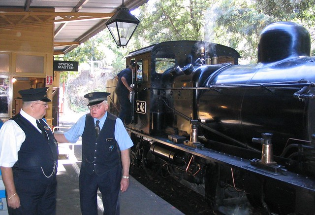 Guard and station master at Puffing Billy
