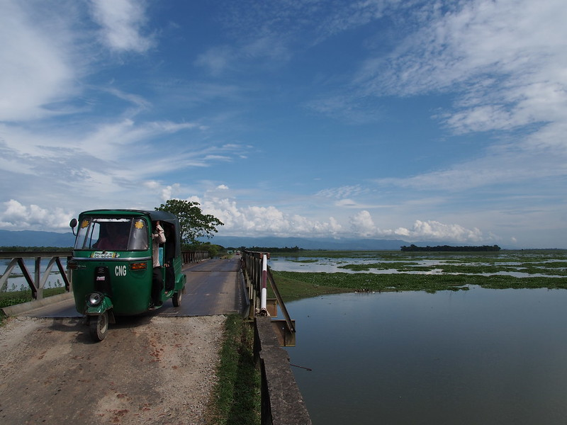 Indian mountains behind the flood area, Bangladesh