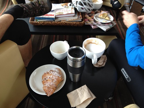 My almond croissant and coffee