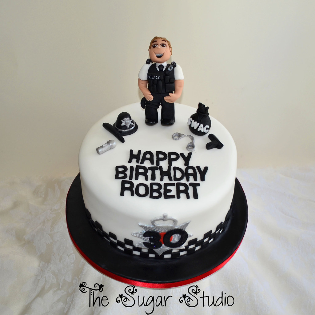 Policeman Police Officer 30th Birthday Cake With Handmade Edible Topper Decoration Figure