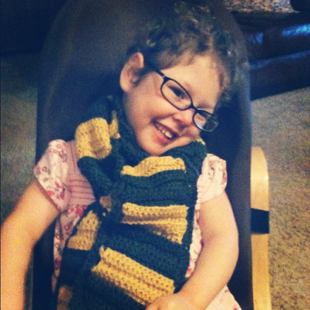 Scarf I made for our helper's birthday. #crochet C approves ;)