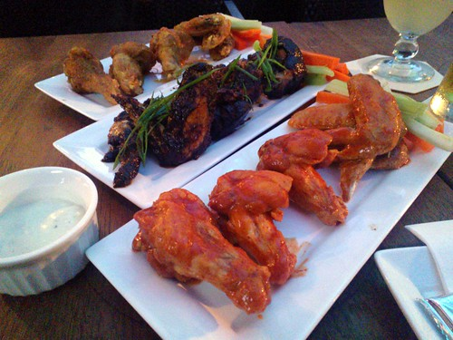From front: Buffalo Wings, Sichuan Wings, and Cajun Wings