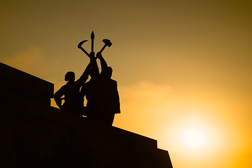 sunset shadow tower silhouette statue dawn idea north korea communism pyongyang dprk juche