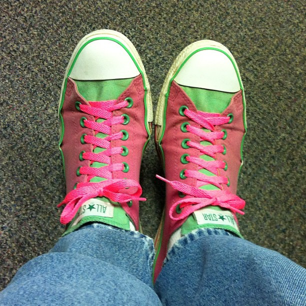 New shoelaces for my pink and green all stars.