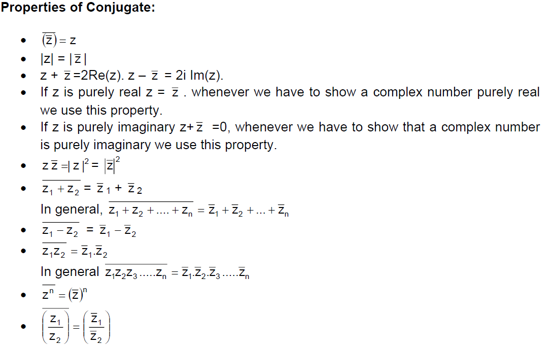 Properties of Conjugate of a Complex Number