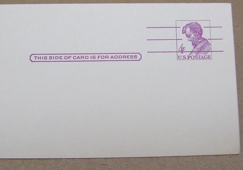 Abe Lincoln Purple USPS Postal Card
