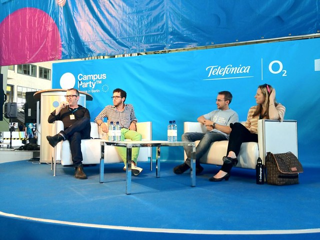 Mike Butcher moderating panel on Crowd Funding at Campus Party EU in Berlin