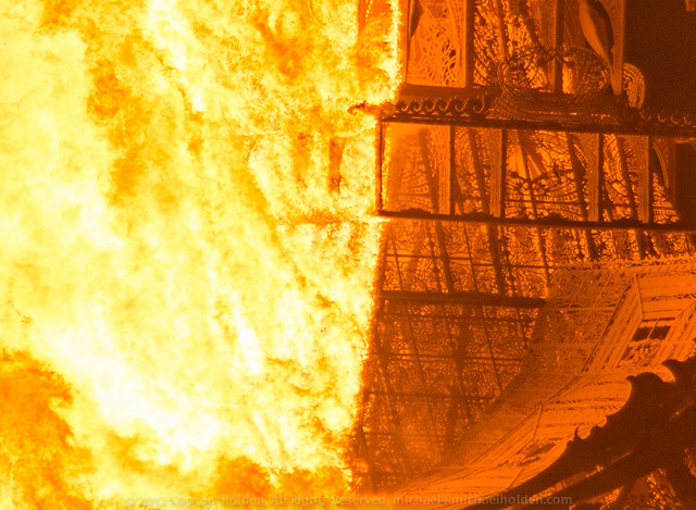The Temple of Juno burns at Burning Man 2012