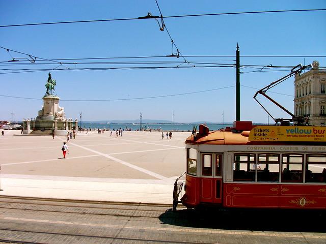 Tram in Lisbon, Praça do Comércio, Portugal