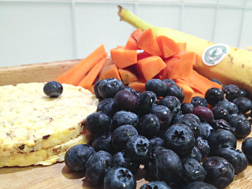 Corn thins, blueberries, carrot