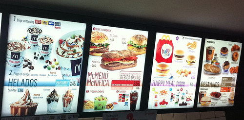 McDonalds Menu in Spain