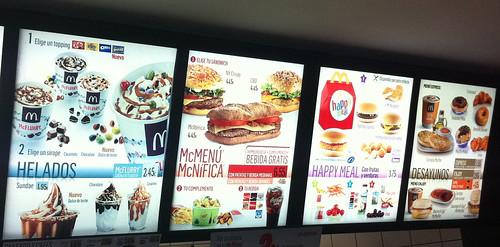 McDonalds Menu in Spain