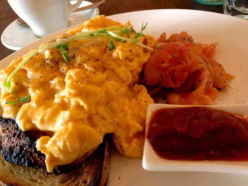 Scrambled eggs on toast with house-cured salmon at Fitzrovia