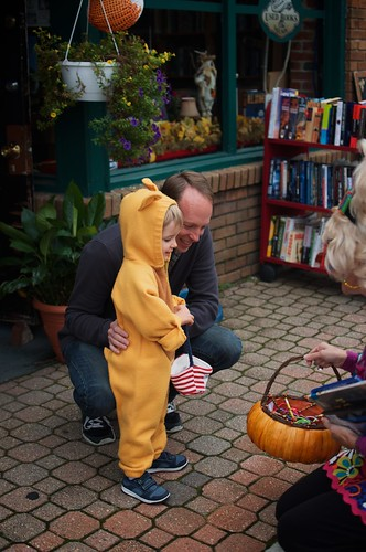 Getting candy from the crazy lady in front of the bookstore.